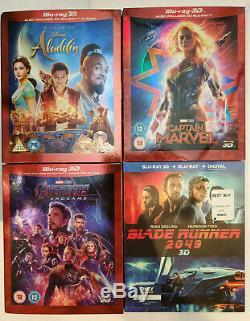 Aladdin+Avengers Endgame+Captain Marvel+Blade Runner 2049 3D+Blu-ray+Slip Covers