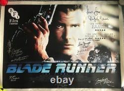Blade Runner Cast Signed British Quad Poster Harrison Ford Rutger Hauer BAS