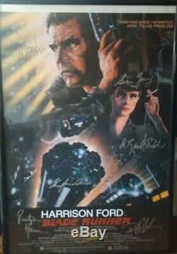 Blade Runner Poster Signed By Harrison Ford, Young, Hauer, Hannah, Scott, Olmas+