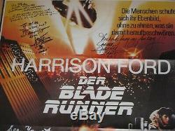German Blade Runner One Sheet Signed By 5/Sean Young/Rutger Hauer/Hong/Cassidy