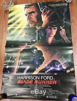 Original 1982 Blade Runner Harrison Ford Movie Poster 27x40