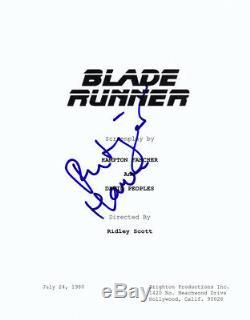 Rutger Hauer signed Blade Runner FULL SCRIPT AFTAL & UACC FULL Signing Details