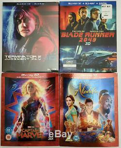 Terminator 2 3D REGION-FREE+Captain Marvel +Blade Runner+Aladdin 2019 3D Blu-ray